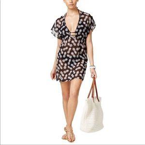 MIKEN Pineapple Black & White Swim Cover Up Size M